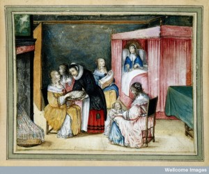 A Dutch birth-room, with a maid giving sweetmeats to gossips. Credit: Wellcome Library, London.