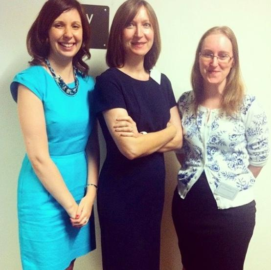 Conference organisers Ciara Meehan (left) and Jennifer Evans (right) with keynote speaker Joanne Bailey (centre)