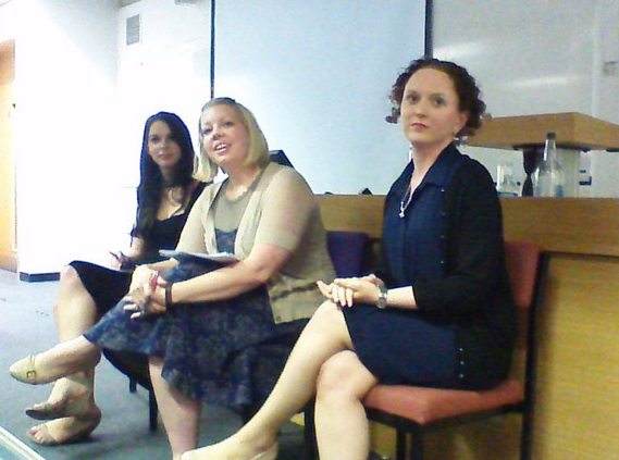 Sarah Crook (QMUL), Chelsea Phillips (Ohio State University) and Claire McGing (NUI Maynooth) at the first panel of day three.
