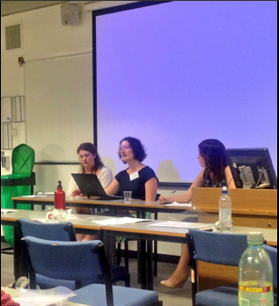 Q&A session at panel on abortion, which featured papers from Fran Bigman (University of Cambridge), Hannah Charnock (University of Exeter) and Ciara Meehan (University of Hertfordshire). Photo Credit: Gemma Fulton.