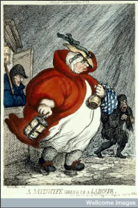 In darkness, a midwife sets out for a labour with a drink bottle in her hand.  A Midwife Going to a Labour, by Thomas Rowlandson (1811).  Wellcome Library, London