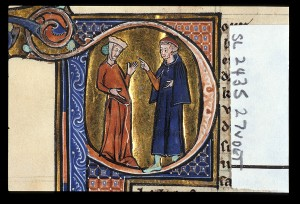 A physician examines a pregnant woman. Thirteenth-century manuscript. Kindly reproduced courtesy of the British Library