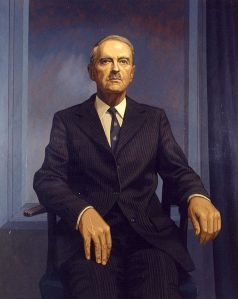 Portrait of Liam Cosgrave, on display at Leinster House.