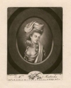 Isabella Mattocks (née Hallam) by Robert Laurie, after Robert Dighton mezzotint, published 1780 NPG D3651 © National Portrait Gallery, London