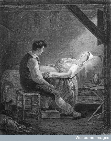 M0011219 A poor woman in childbirth being watched by her husband.